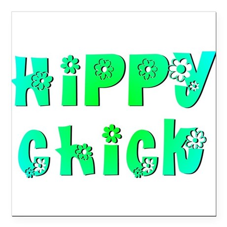 "Hippy Chick Square Car Magnet 3"" x 3"""