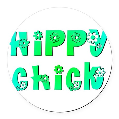 Hippy Chick Round Car Magnet