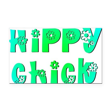 Hippy Chick Rectangle Car Magnet