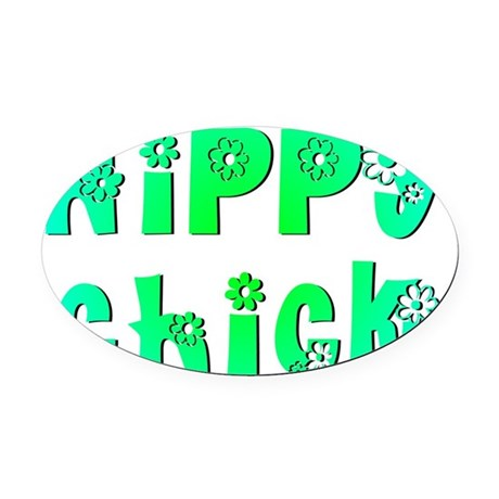 Hippy Chick Oval Car Magnet