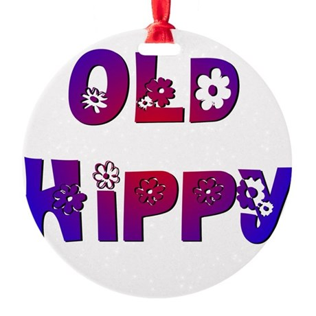 Old Hippy Round Ornament