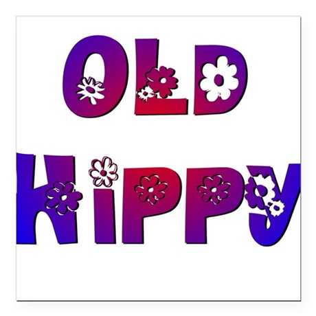 "Old Hippy Square Car Magnet 3"" x 3"""