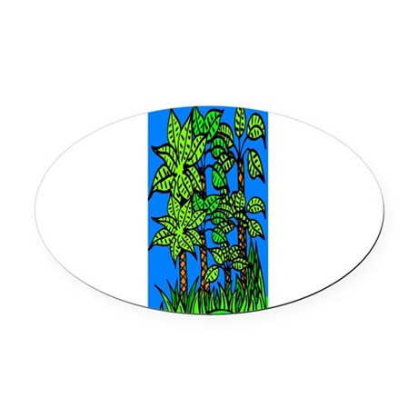 trees.jpg Oval Car Magnet