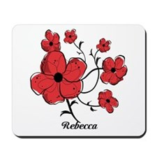 Personalized Modern Red and Black Floral Design Mo