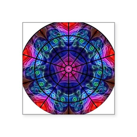 Kaleidoscope Fractal 8 Square Sticker 3&quot; x 3&quot;