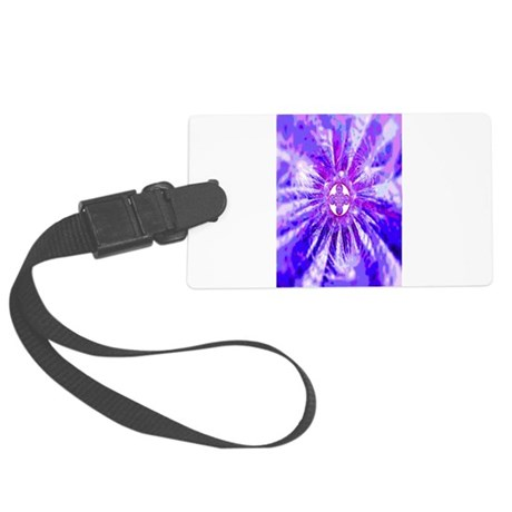 Blue Fractal Clock Large Luggage Tag