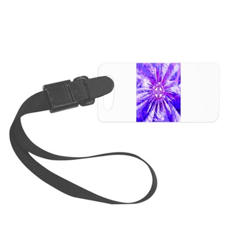 Blue Fractal Clock Small Luggage Tag
