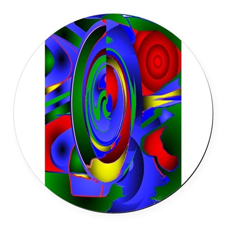 Abstract 001 - tall Round Car Magnet