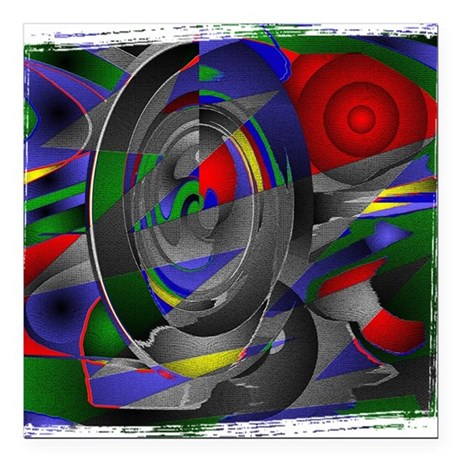 "Abstract 002a Square Car Magnet 3"" x 3"""