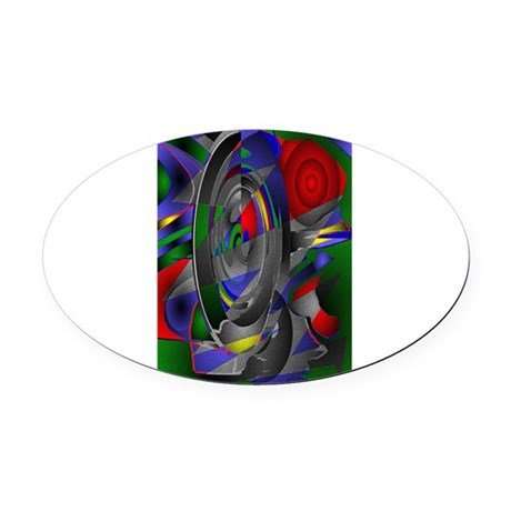 Abstract 002a Oval Car Magnet