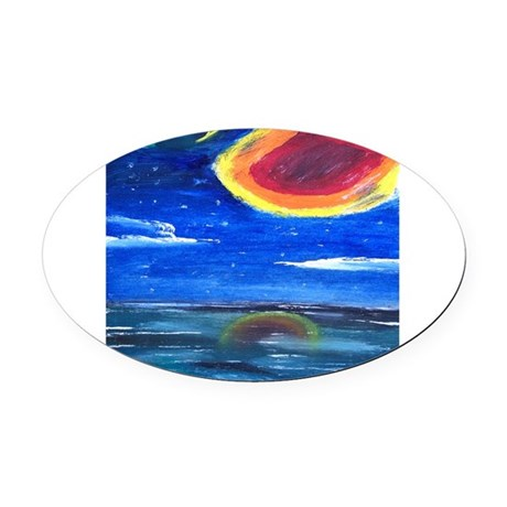 Asteroid Oval Car Magnet