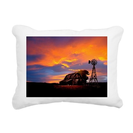 He Is Watching Barn Sunset Rectangular Canvas Pill