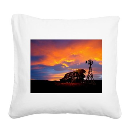 He Is Watching Barn Sunset Square Canvas Pillow