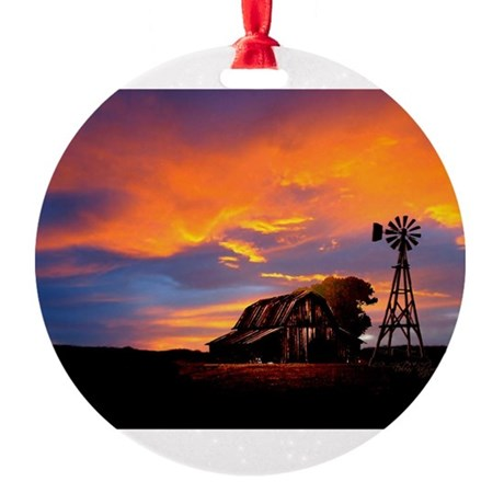 He Is Watching Barn Sunset Round Ornament