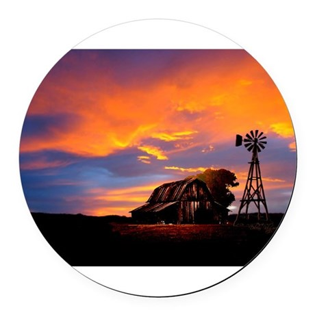 He Is Watching Barn Sunset Round Car Magnet