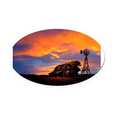 He Is Watching Barn Sunset Oval Car Magnet