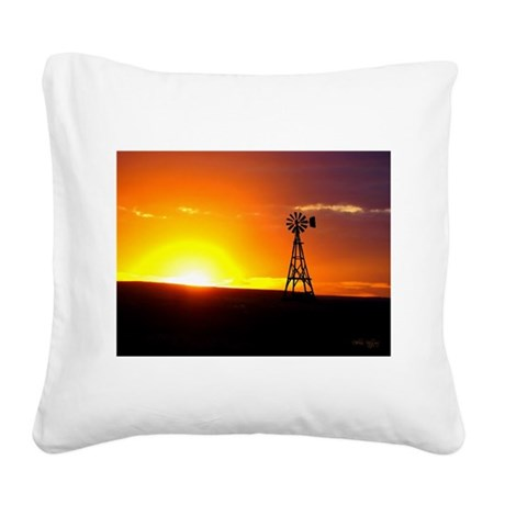 Windmill Sunset Square Canvas Pillow