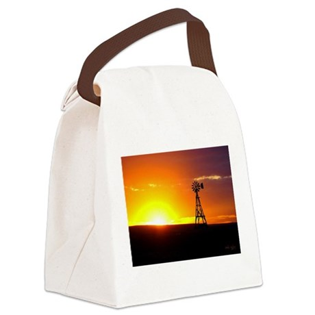 Windmill Sunset Canvas Lunch Bag