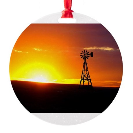 Windmill Sunset Round Ornament