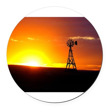 Windmill Sunset Round Car Magnet