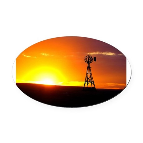 Windmill Sunset Oval Car Magnet