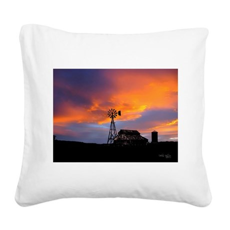 Sunset on the Farm Square Canvas Pillow