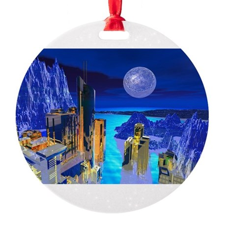 buildings1.jpg Round Ornament