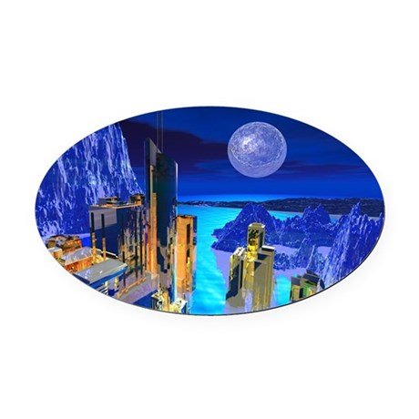 buildings1.jpg Oval Car Magnet