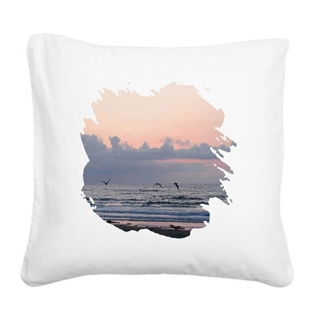 Ocean Scene Square Canvas Pillow