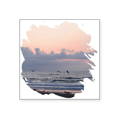 "Ocean Scene Square Sticker 3"" x 3"""