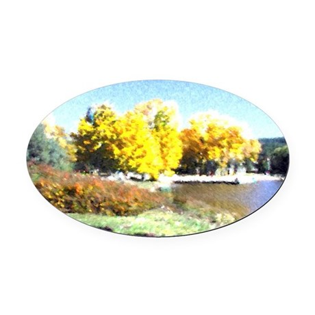 Autumn Lake Oval Car Magnet