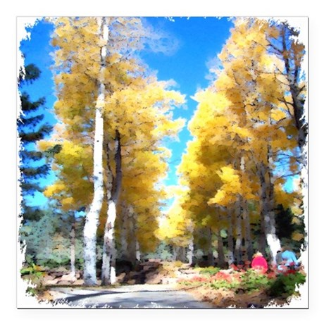 "Aspen Trail Square Car Magnet 3"" x 3"""