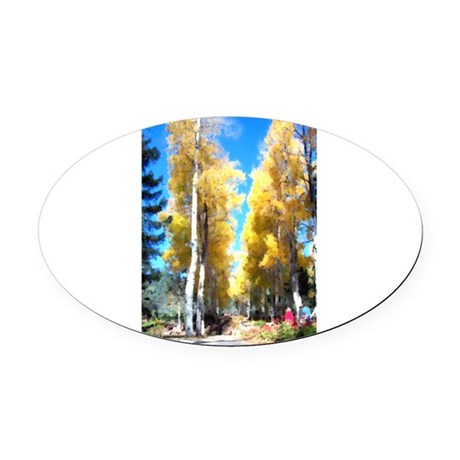 Aspen Trail Oval Car Magnet