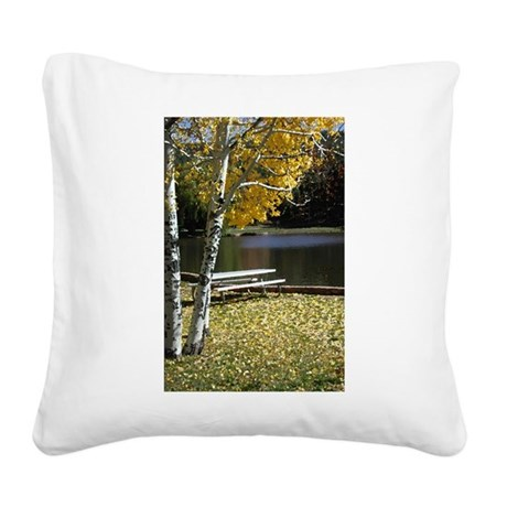 Picnic Table Square Canvas Pillow