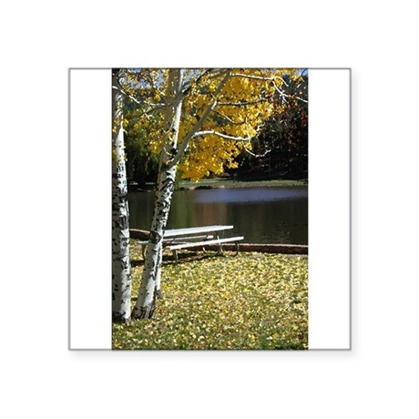 "Picnic Table Square Sticker 3"" x 3"""