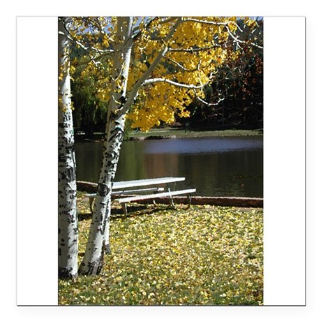 "Picnic Table Square Car Magnet 3"" x 3"""