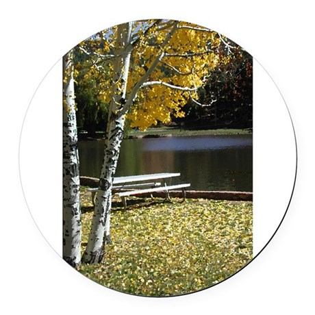 Picnic Table Round Car Magnet