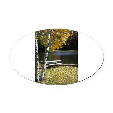 Picnic Table Oval Car Magnet