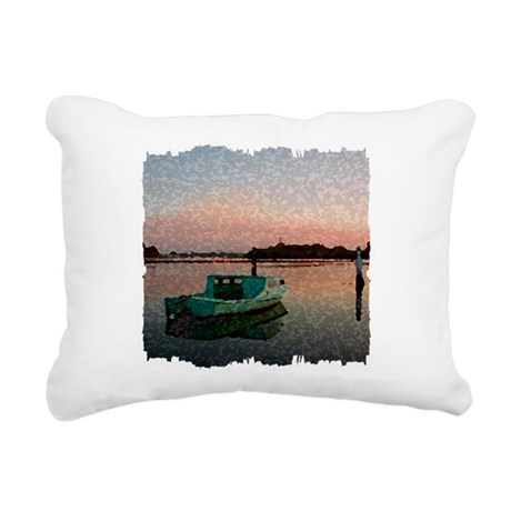 Sunset Boat Rectangular Canvas Pillow