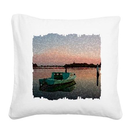 Sunset Boat Square Canvas Pillow