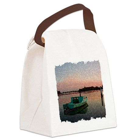 Sunset Boat Canvas Lunch Bag