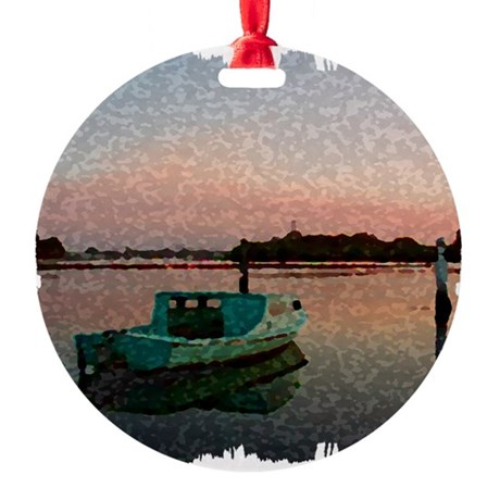 Sunset Boat Round Ornament