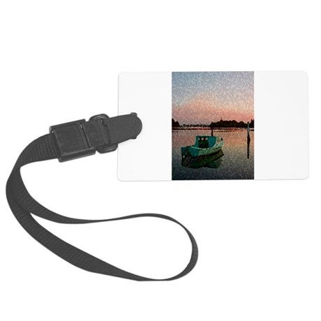 Sunset Boat Large Luggage Tag