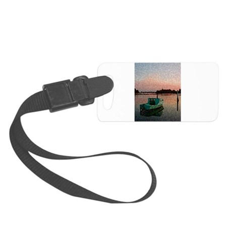 Sunset Boat Small Luggage Tag