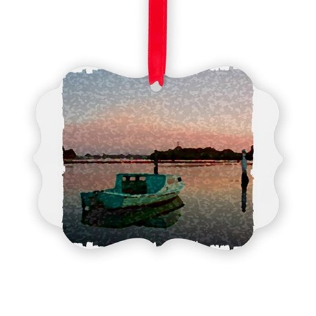 Sunset Boat Picture Ornament