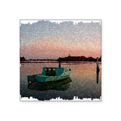 "Sunset Boat Square Sticker 3"" x 3"""