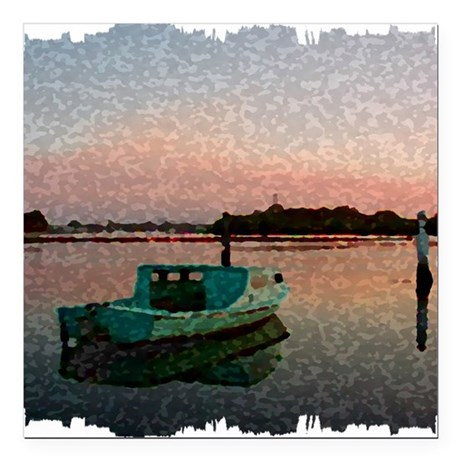 "Sunset Boat Square Car Magnet 3"" x 3"""