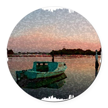 Sunset Boat Round Car Magnet