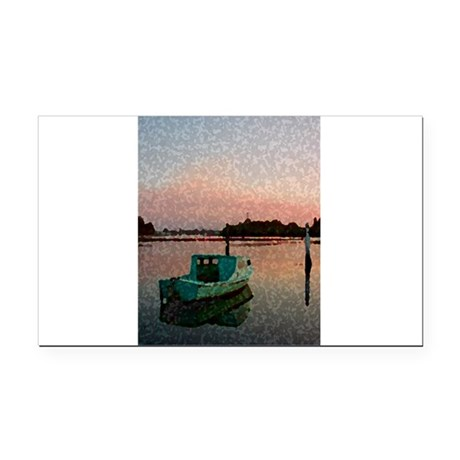 Sunset Boat Rectangle Car Magnet