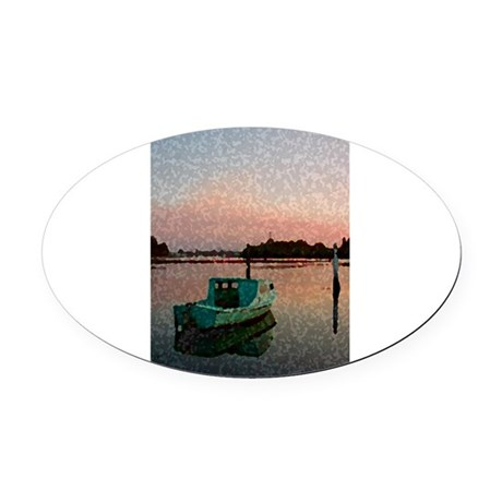 Sunset Boat Oval Car Magnet